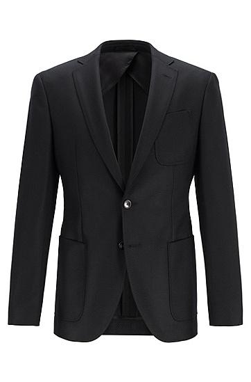 大口袋单排双扣休闲羊毛西服,  001_黑色