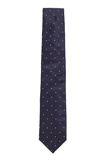 男士波点桑蚕丝领带,  402_暗蓝色