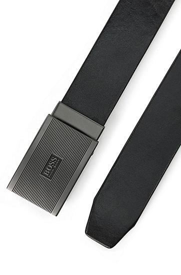 男士商务时尚牛皮板扣腰带,  001_黑色