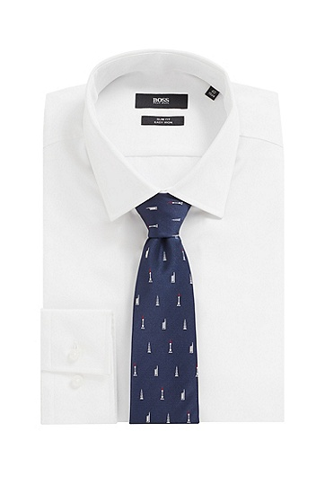 男士商务休闲印花桑蚕丝领带,  404_暗蓝色