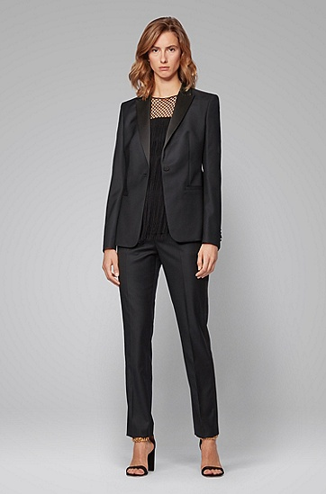缎面饰边常规版型礼服夹克,  001_黑色