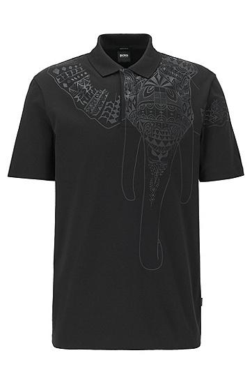 印花常规版型 Polo 衬衫,  001_黑色