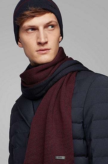 羊绒触感羊毛帽子围巾套装,  402_暗蓝色