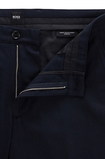 男士意大利弹力棉修身休闲裤,  402_暗蓝色