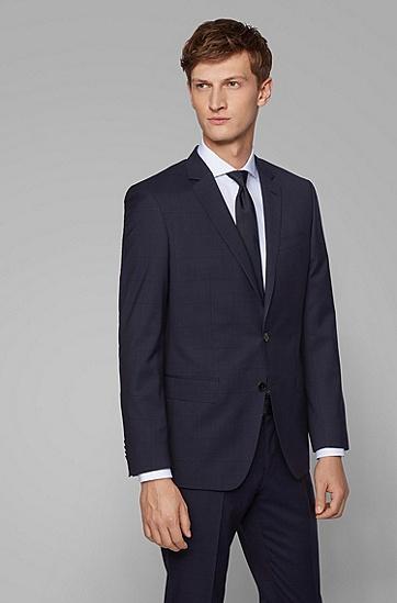 男士英伦复古格纹羊毛西服套装,  402_暗蓝色