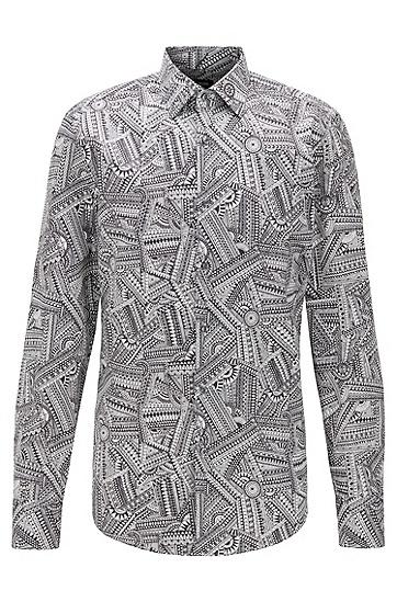 印花缎面修身衬衫,  100_白色