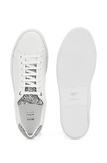 Meissen 印花意大利制造低帮运动鞋,  100_白色