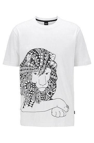 橡胶印花纯棉 T 恤,  100_白色
