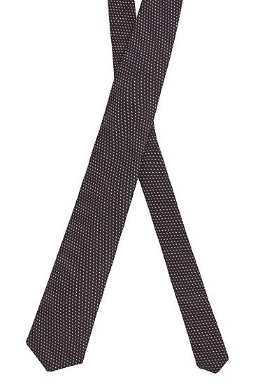 男士商务通勤波点色织真丝领带,  003_黑色