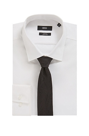 色调图案真丝提花领带,  001_黑色
