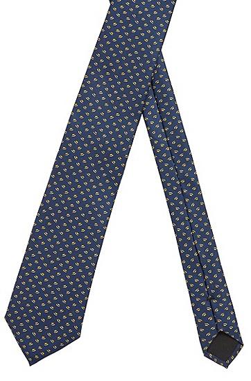 男士图案装饰防水真丝材质意大利制造领带,  741_浅黄色