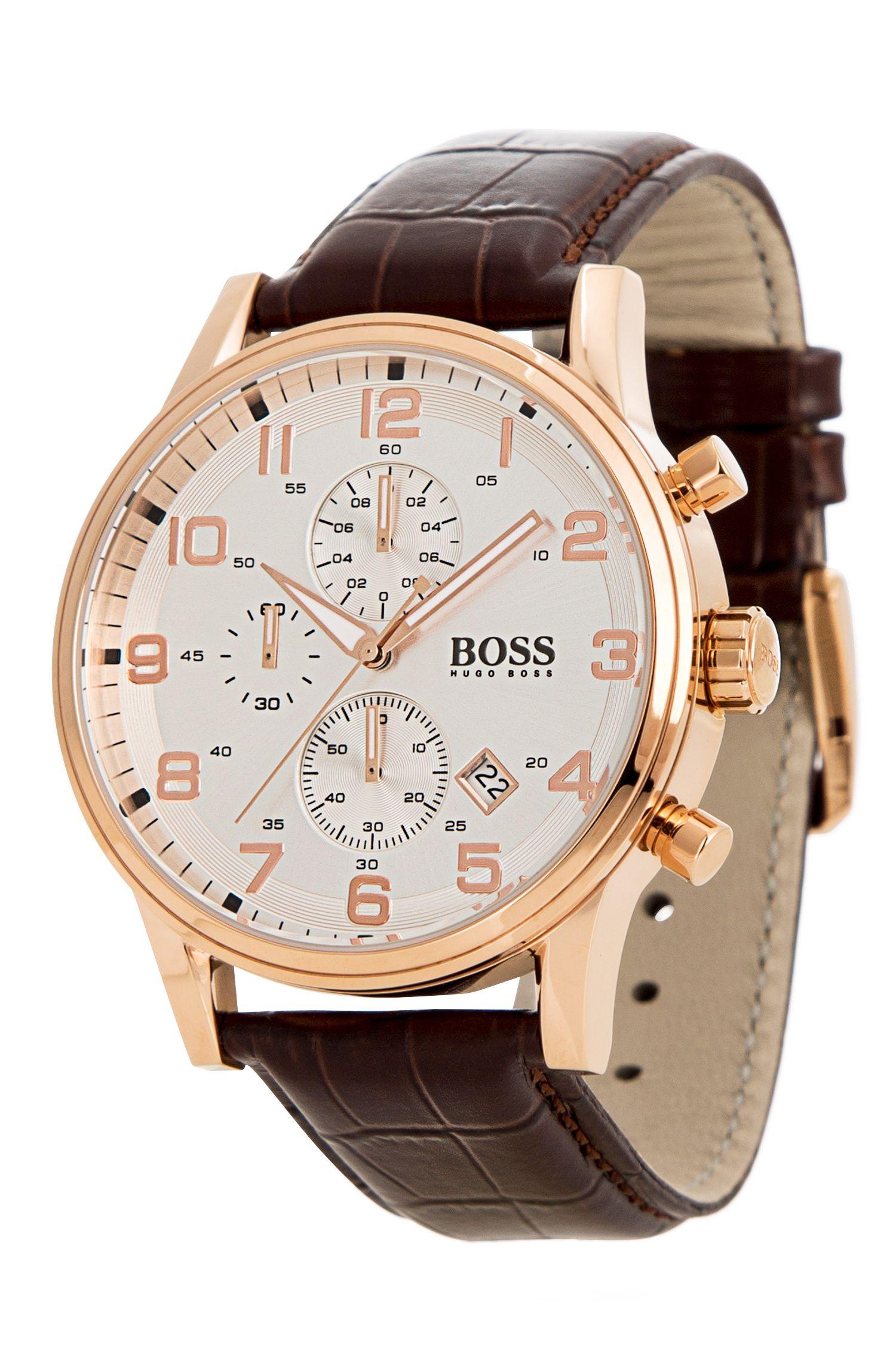 Chronographe avec boîtier en acier inoxydable doréet bracelet en cuir: «HB881»