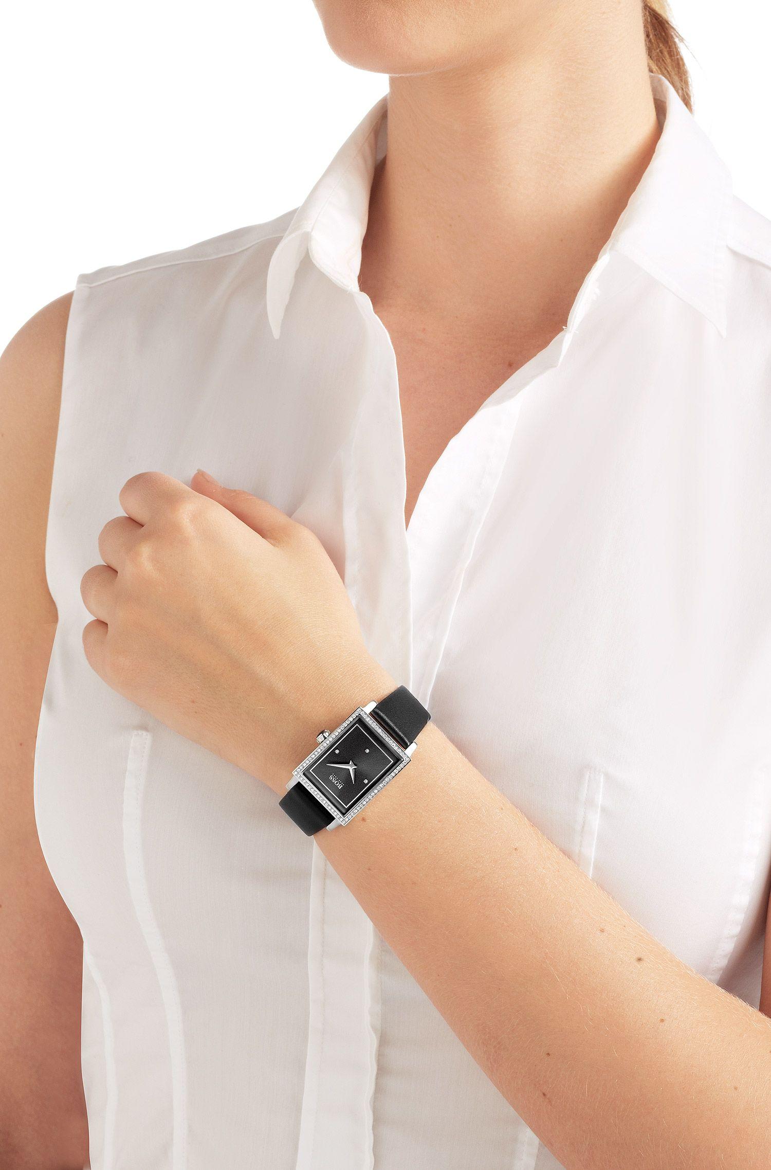 Montre-bracelet «HB6009» avec bracelet en cuir