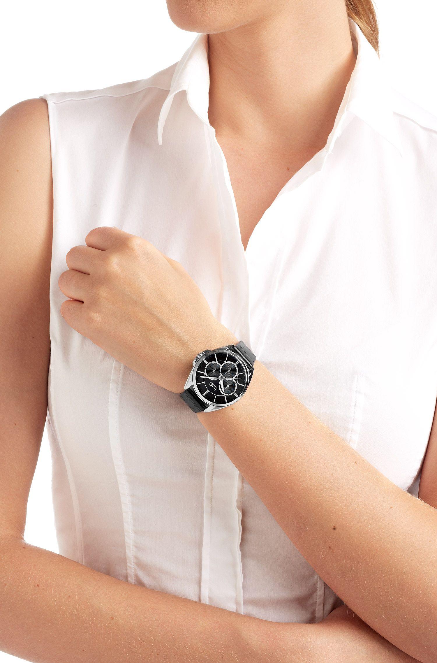 Montre-bracelet «HB6037» avec bracelet en cuir