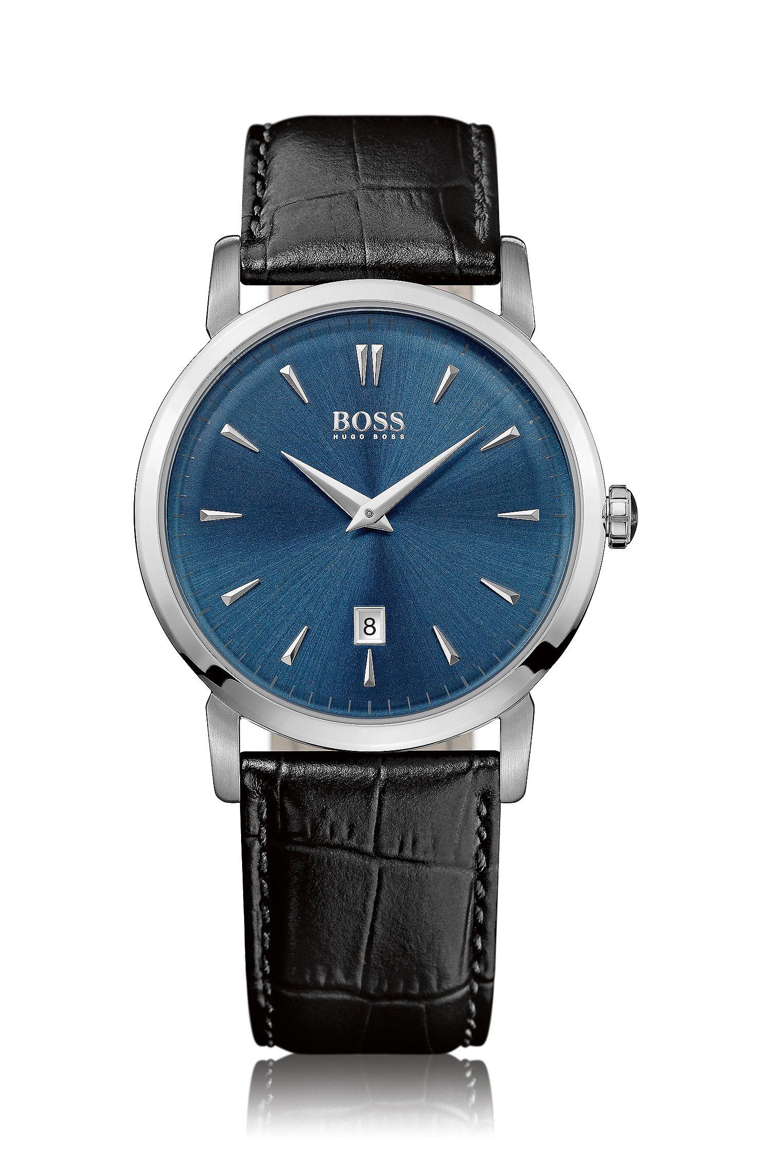 Zwei-Zeiger-Uhr mit Edelstahlgehäuse und geprägtem Lederarmband: 'HB1401'