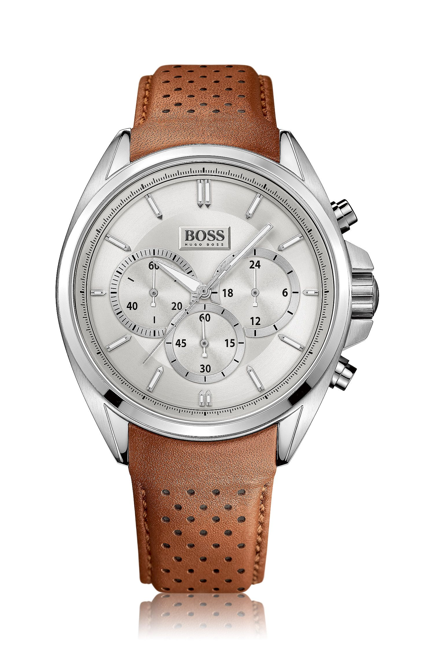Chronograph with stainless-steel case and perforated leather strap: 'HB1881'
