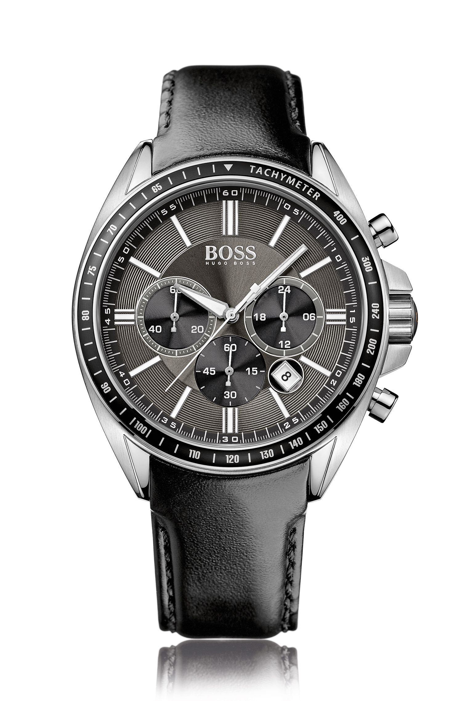 Quartz chronograph with a grained leather strap: 'HB6042'