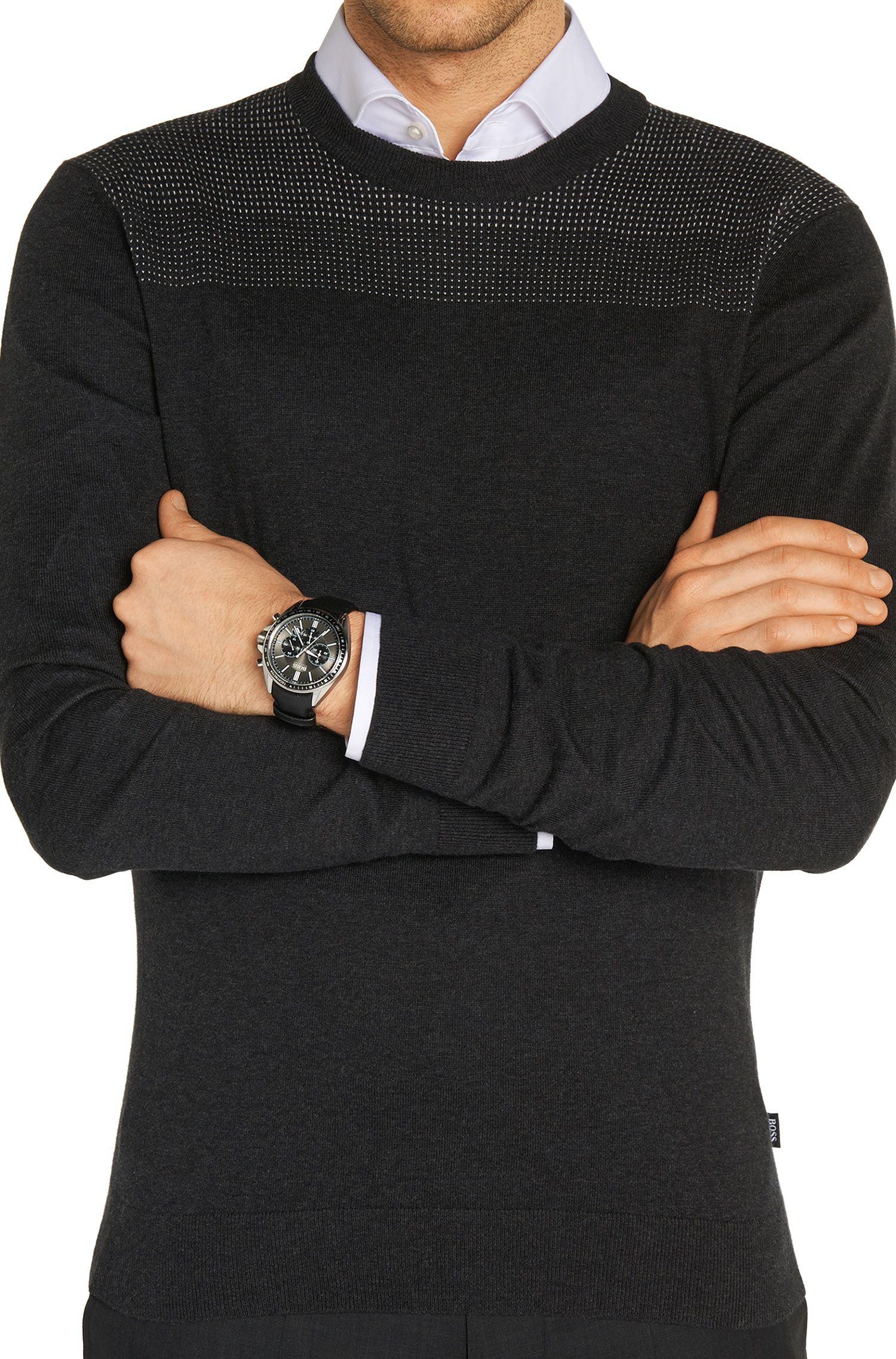 Chronographe à quartz doté d'un bracelet en cuir grené: «HB6042»