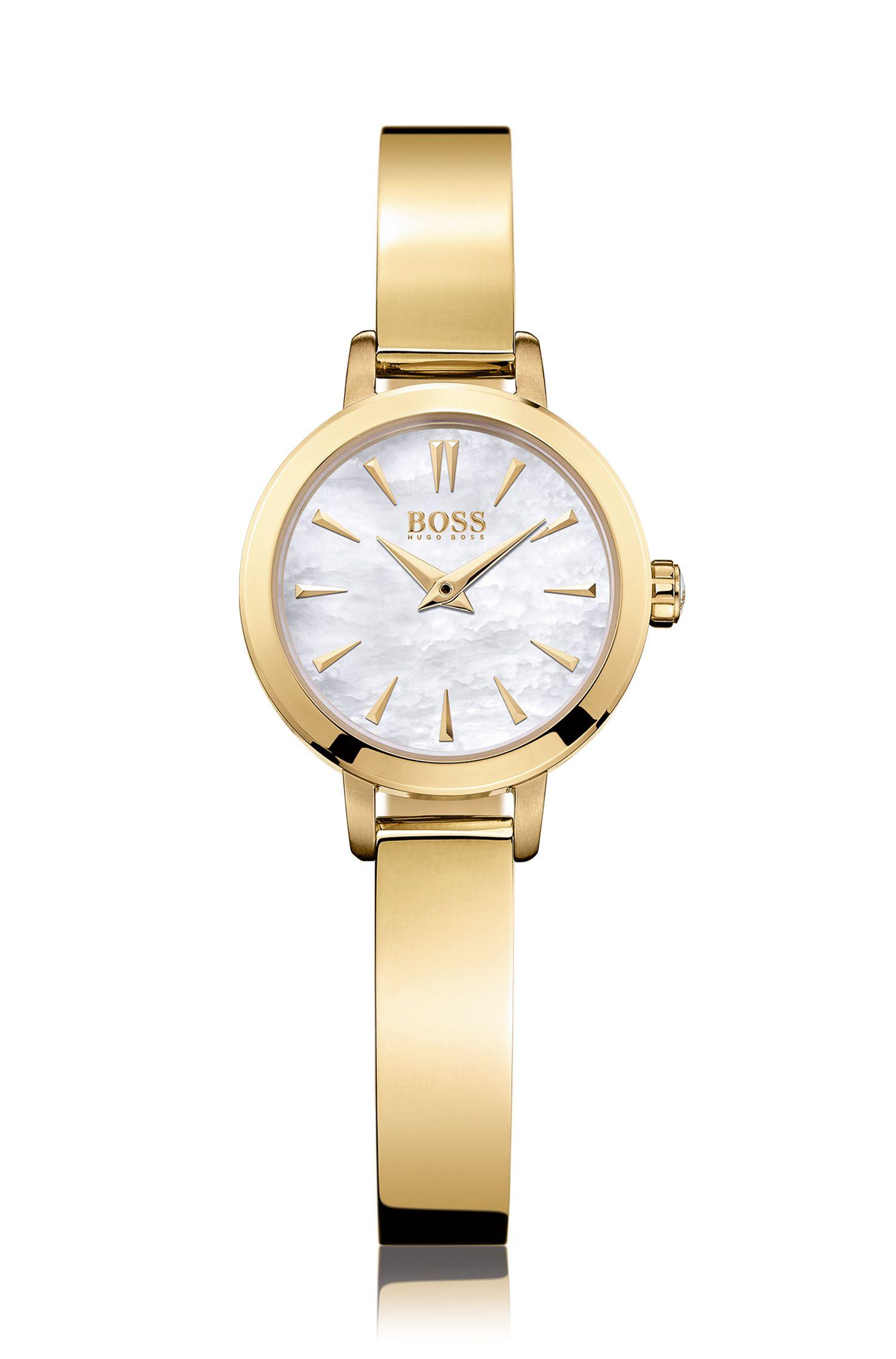 Vergoldete Armbanduhr mit Perlmutt-Zifferblatt: 'HB6020'