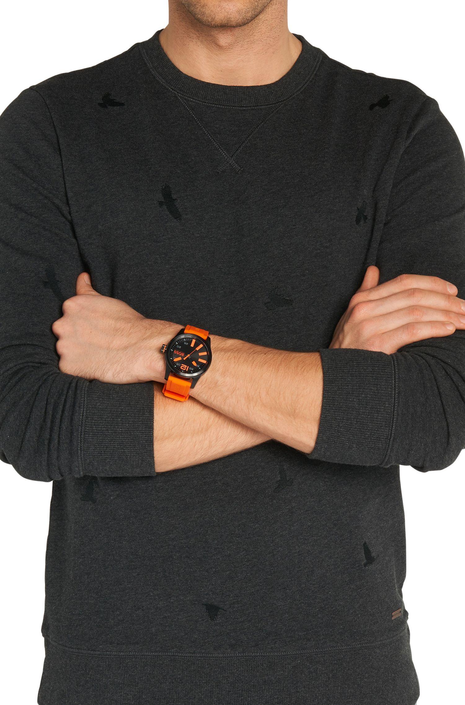 Montre-bracelet avec boîtier en acier inoxydable noir et affichage central des secondes: «HB2071»
