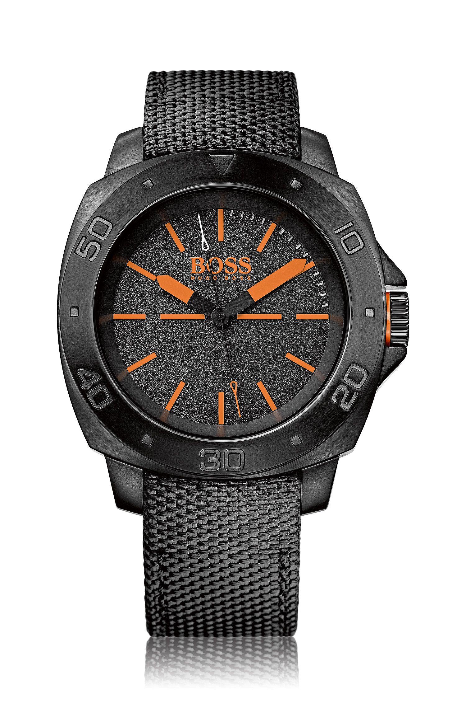Armbanduhr mit geschwärztem Edelstahlgehäuse und zentraler Sekunde: 'HB1431'