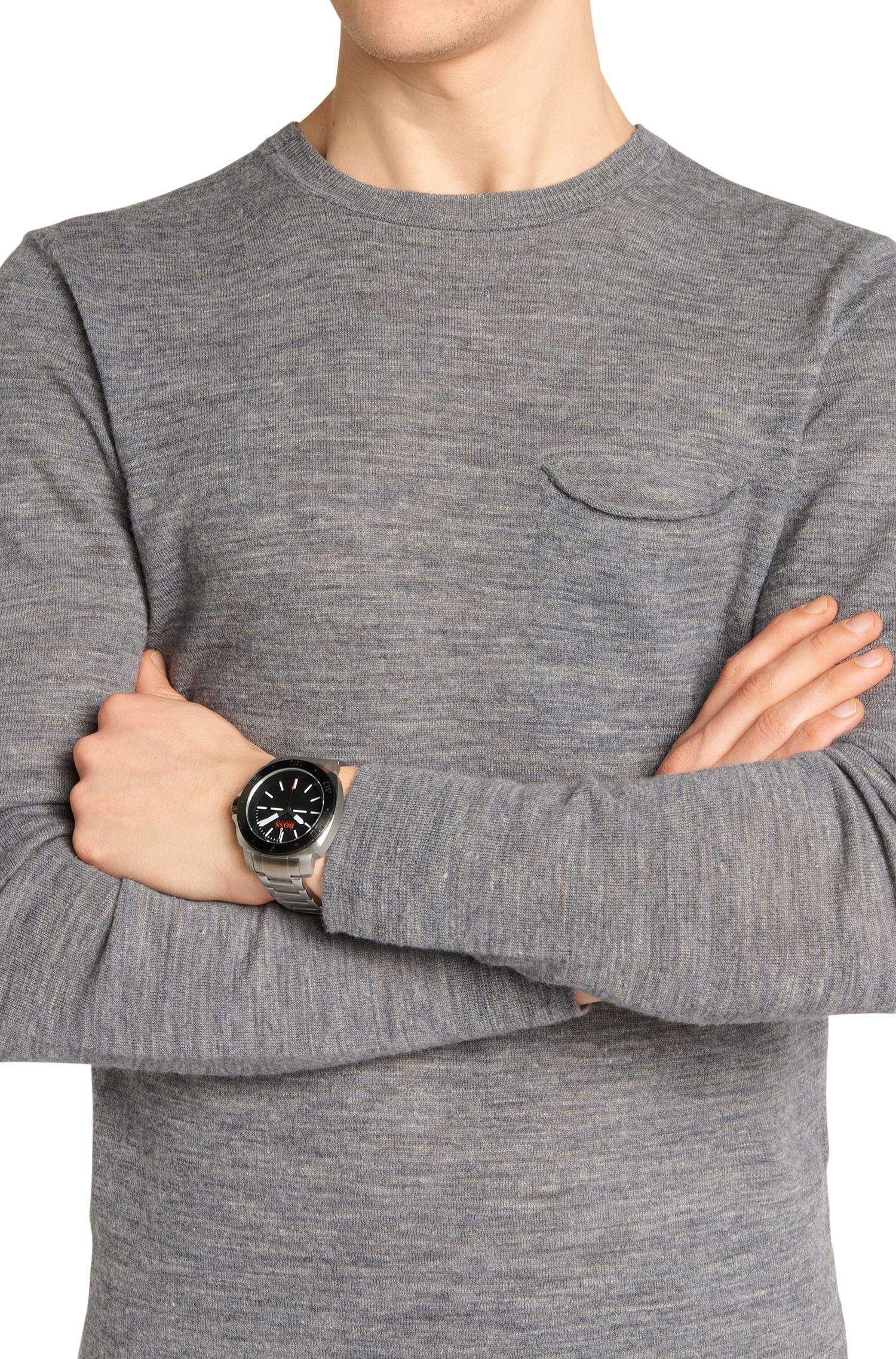 Drei-Zeiger-Uhr aus Edelstahl mit Gliederarmband: 'HB1431'