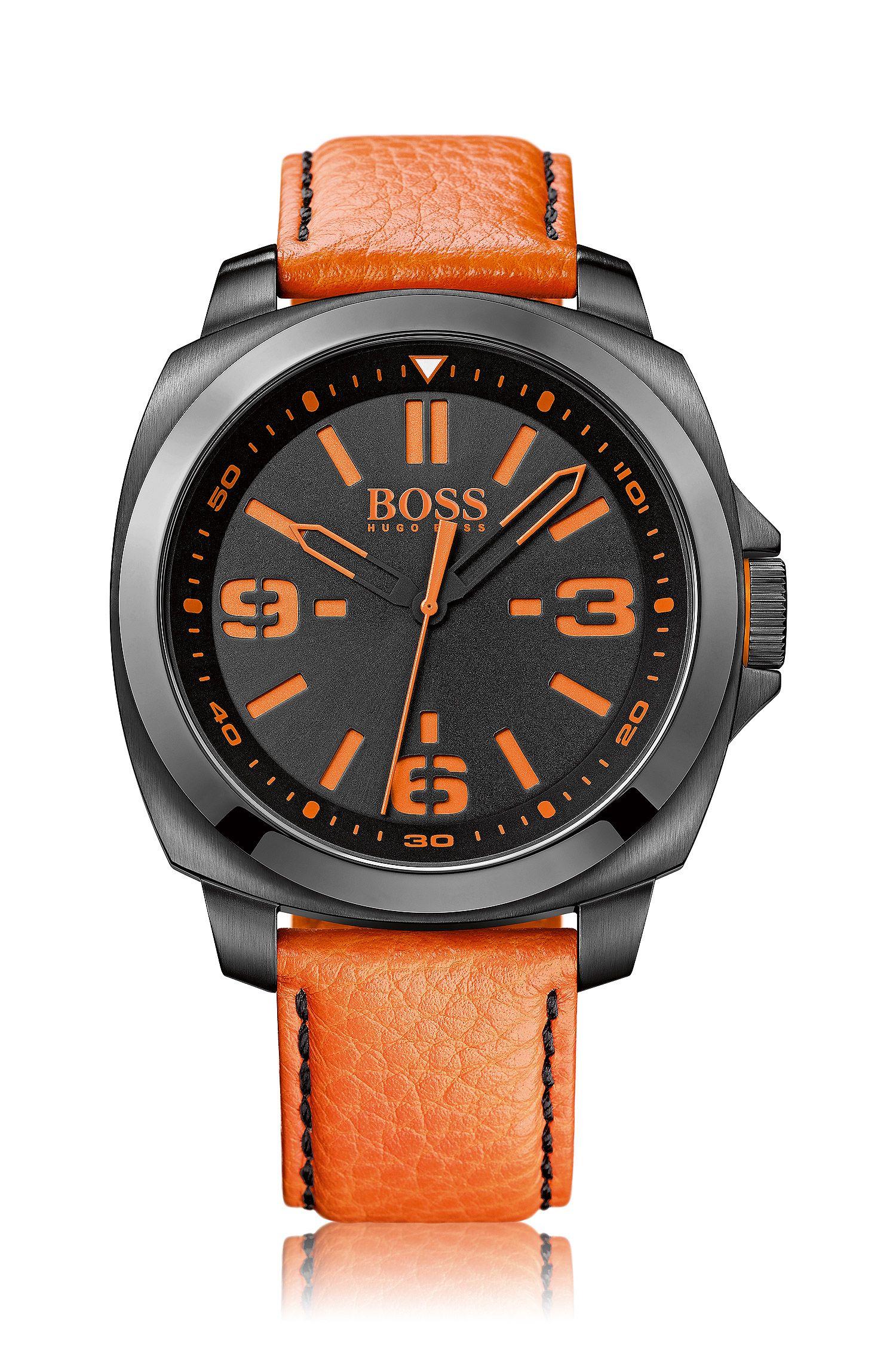 Drei-Zeiger-Uhr mit geschwärztem Edelstahlgehäuse und Lederarmband: 'HB2281'