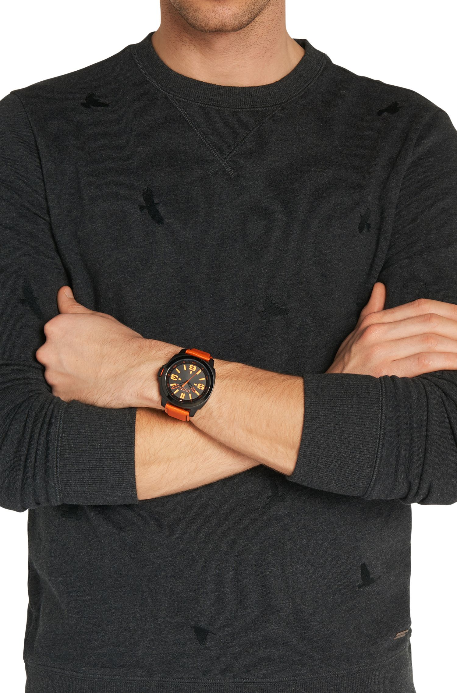 Montre à trois aiguilles avec boîtier noir en acier inox et bracelet en cuir: «HB2281»