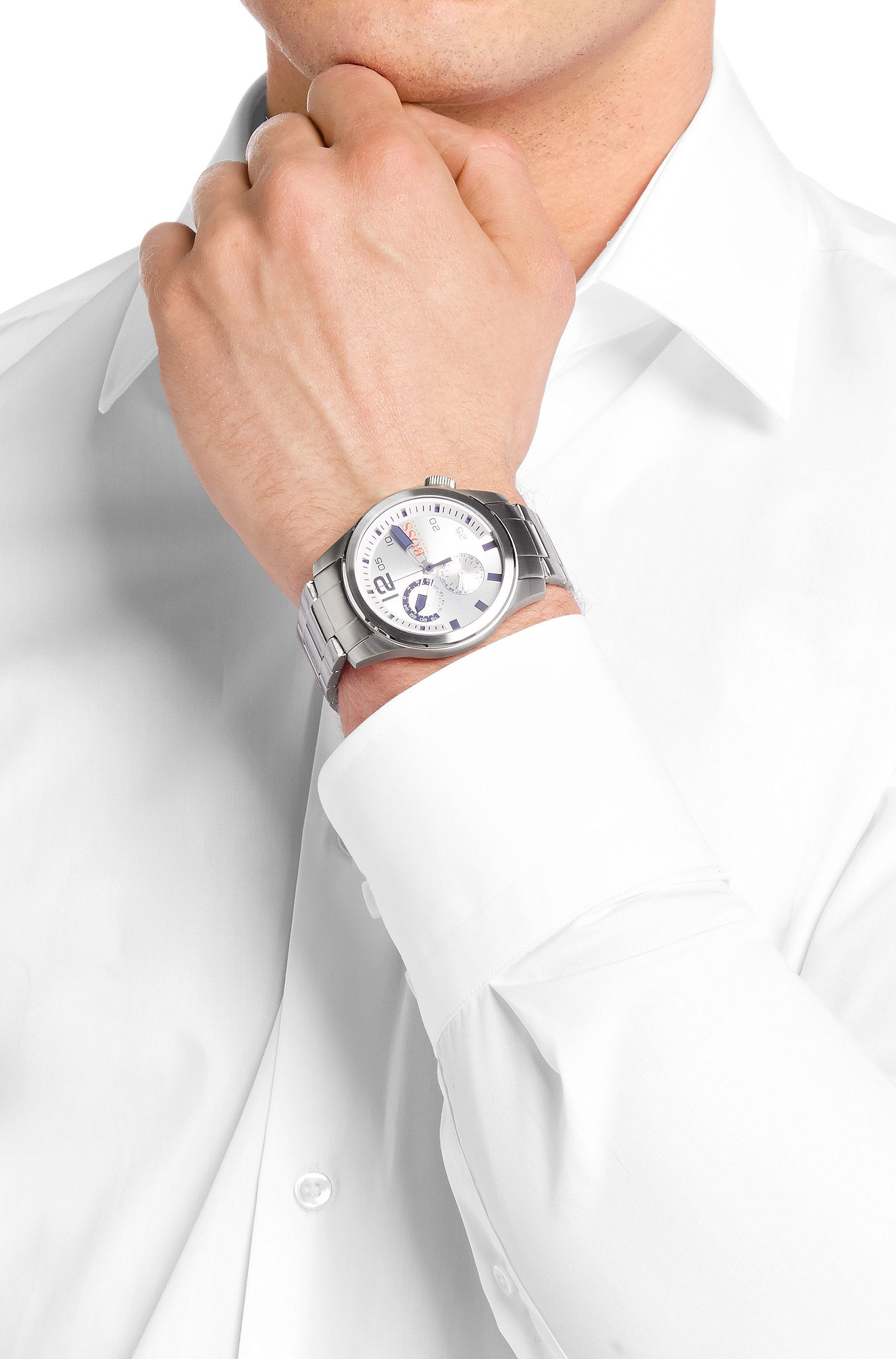 Multifunctioneel horloge 'HOPARIS' met band van roestvrij staal