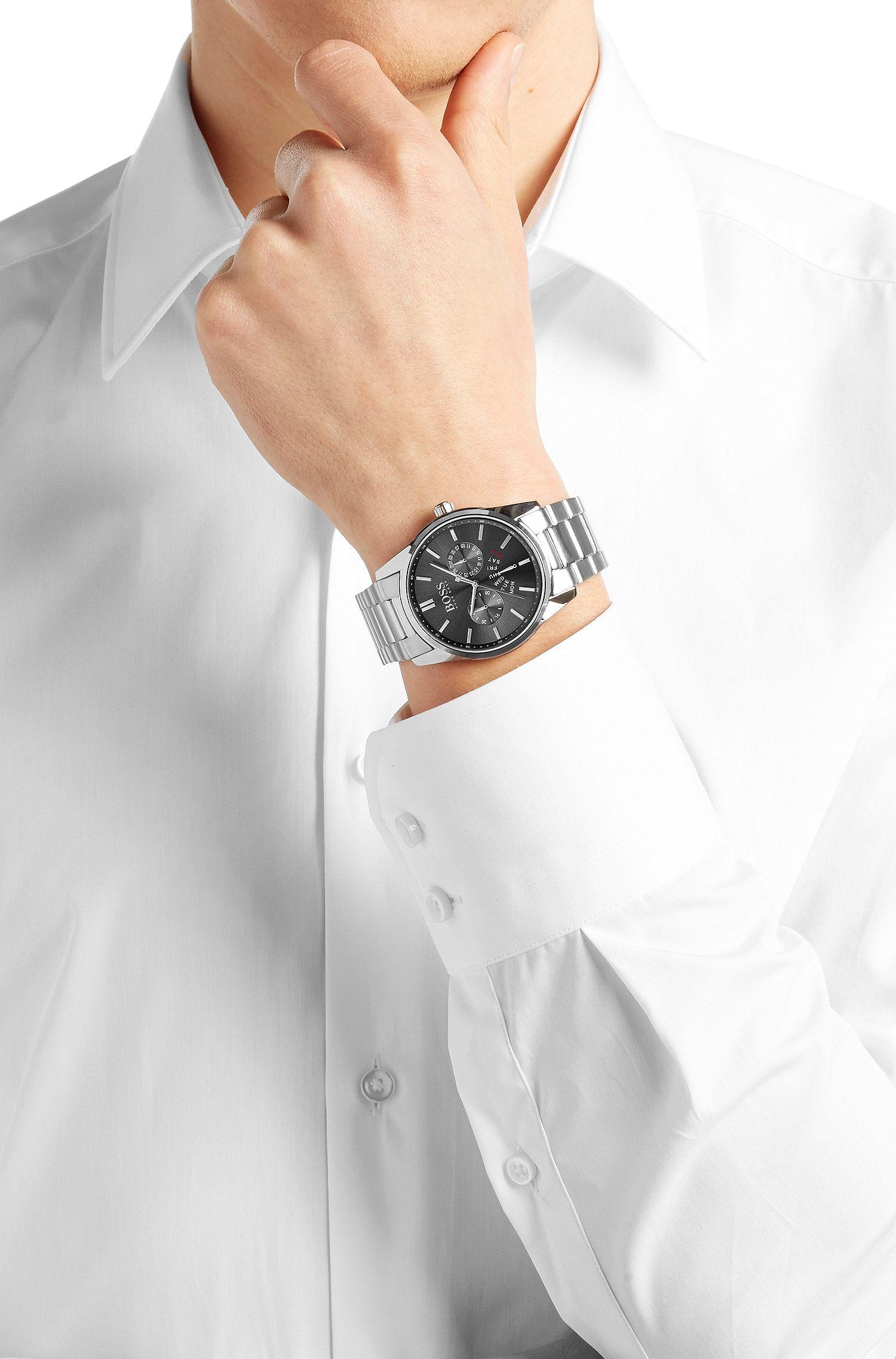 Armbanduhr aus Edelstahl mit zentraler Sekunde: 'HBHERIT-1513127-G-SS-ROU-GRE-B-SS'