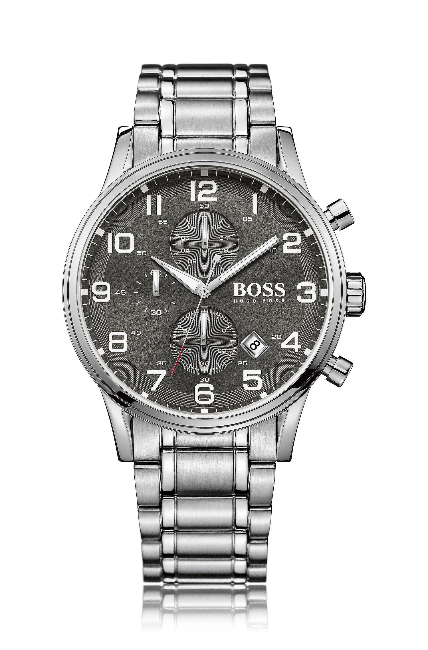 Chronograaf 'HBAERIR' met een kast van zilverkleurig roestvrij staal