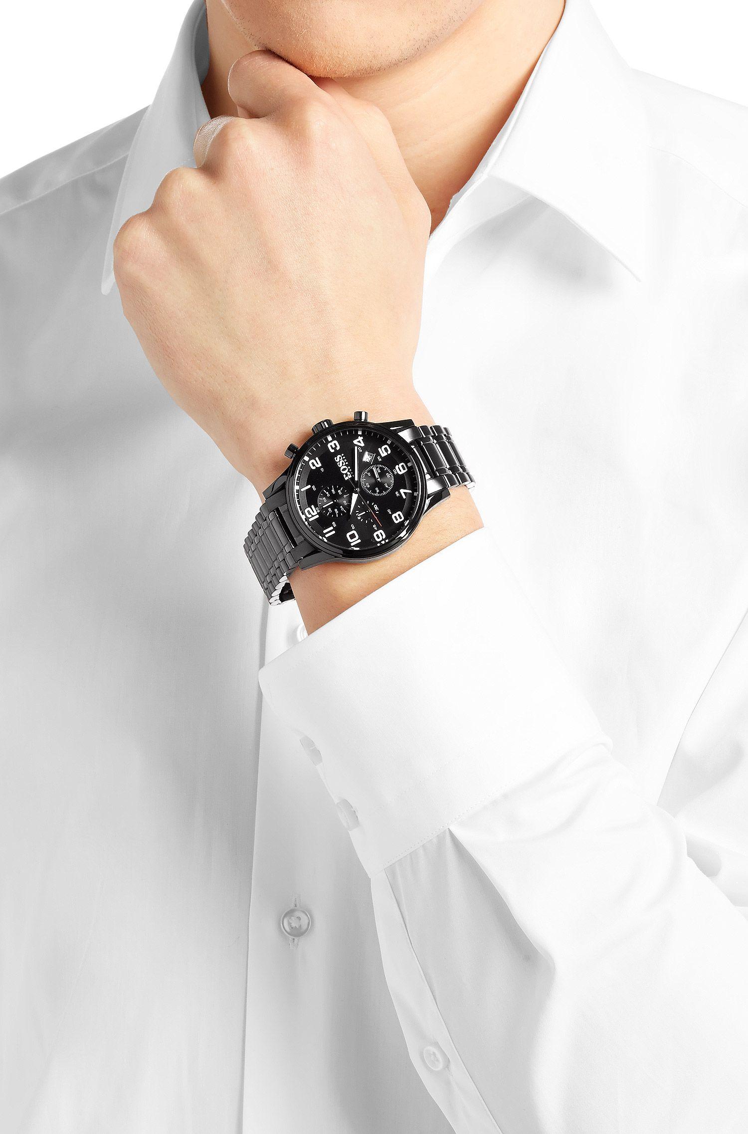 Chronographe «HBAERIR» avec boîtier en acier inox noir