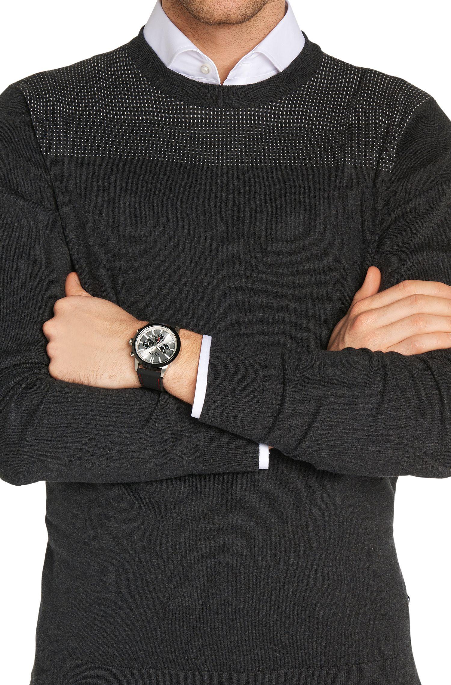 Chronographe avec boîtier en acier inoxydable et tachymètre: «HB2661»