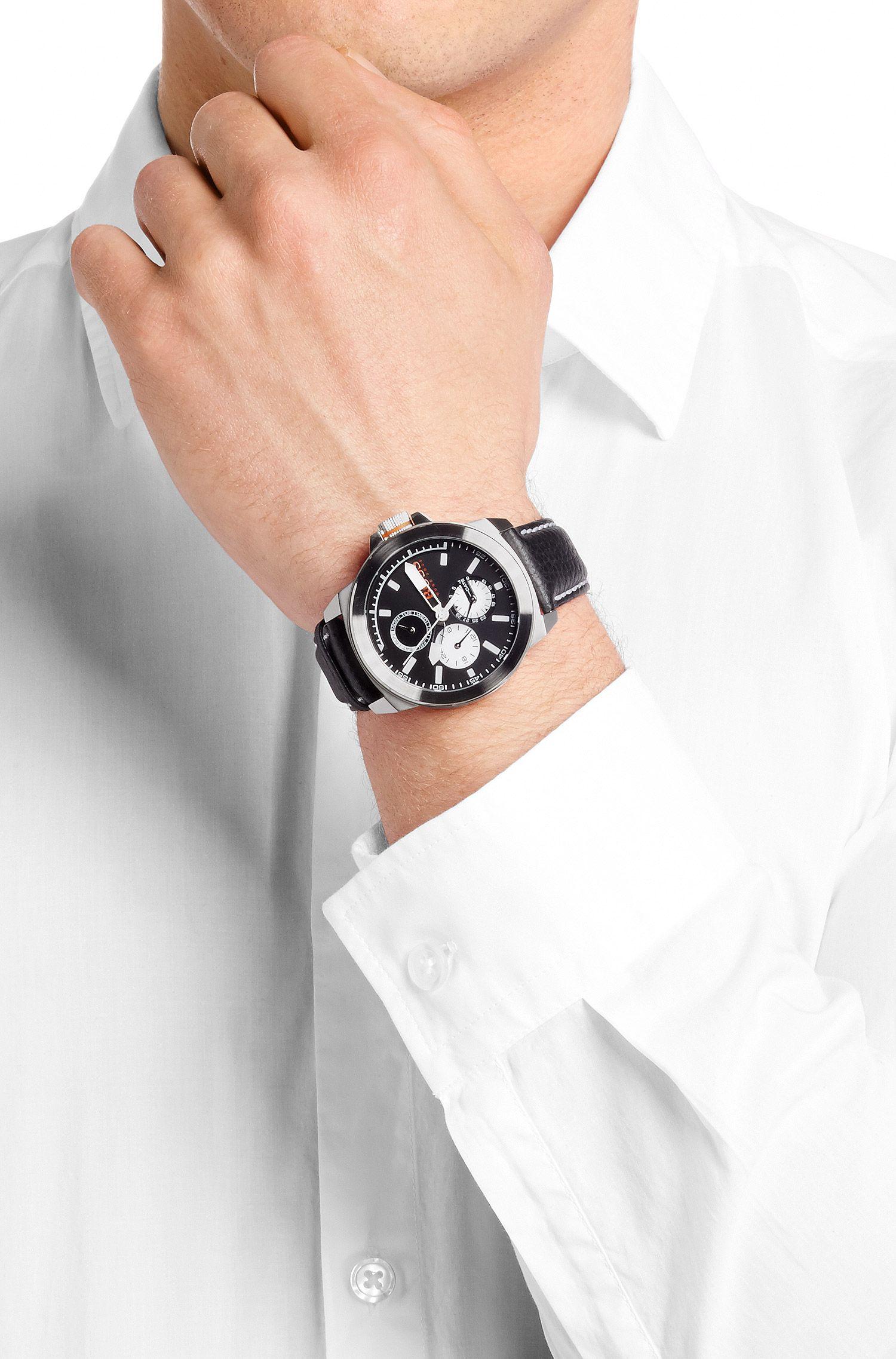 Multifunktionsuhr mit Leder-Armband: ´New York`