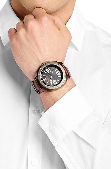 Armbanduhr ´HOSAOPO` mit Leder-Armband, Assorted-Pre-Pack