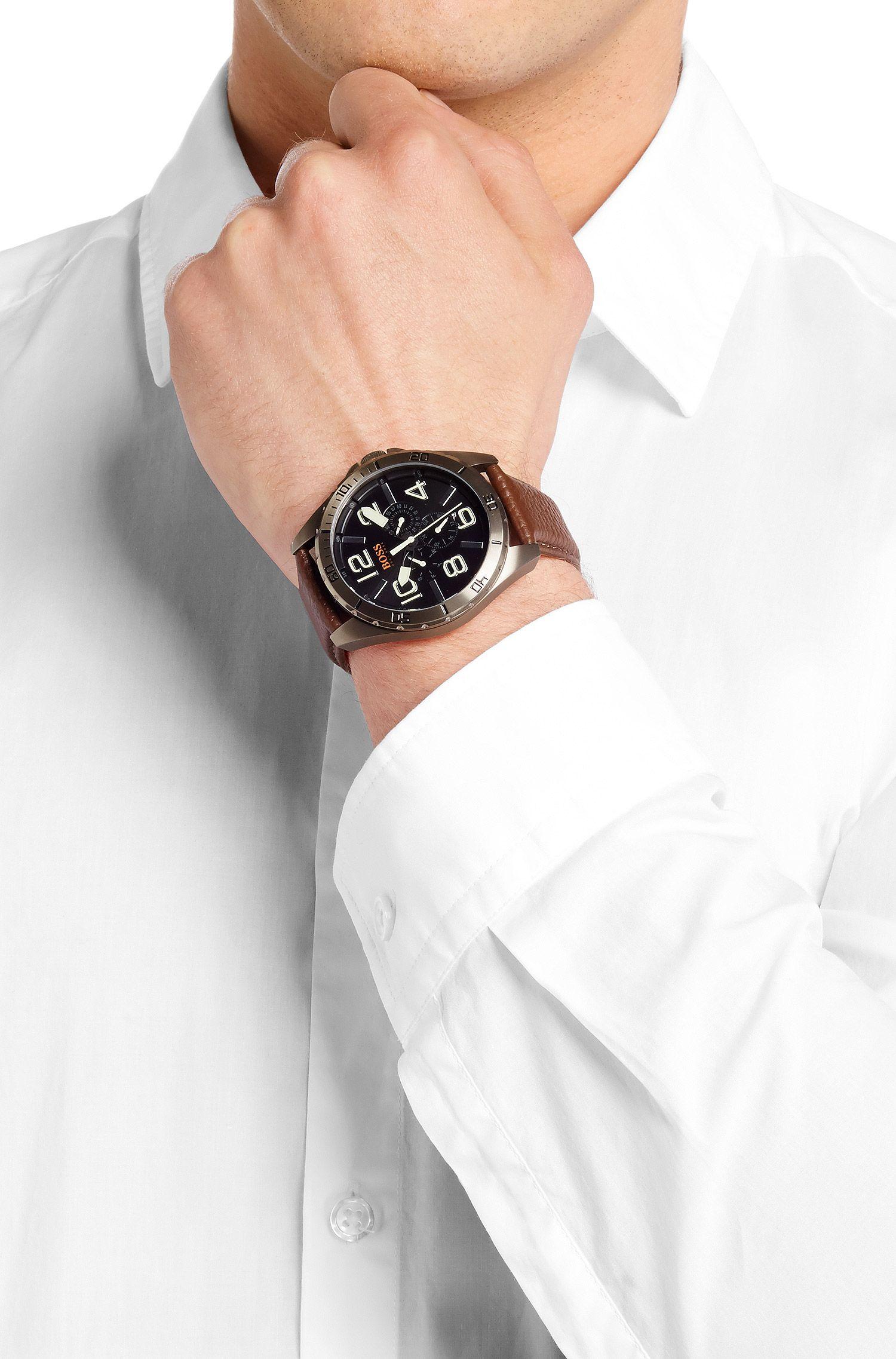 Montre multifonctionnelle «HOBERLI» avec bracelet en cuir