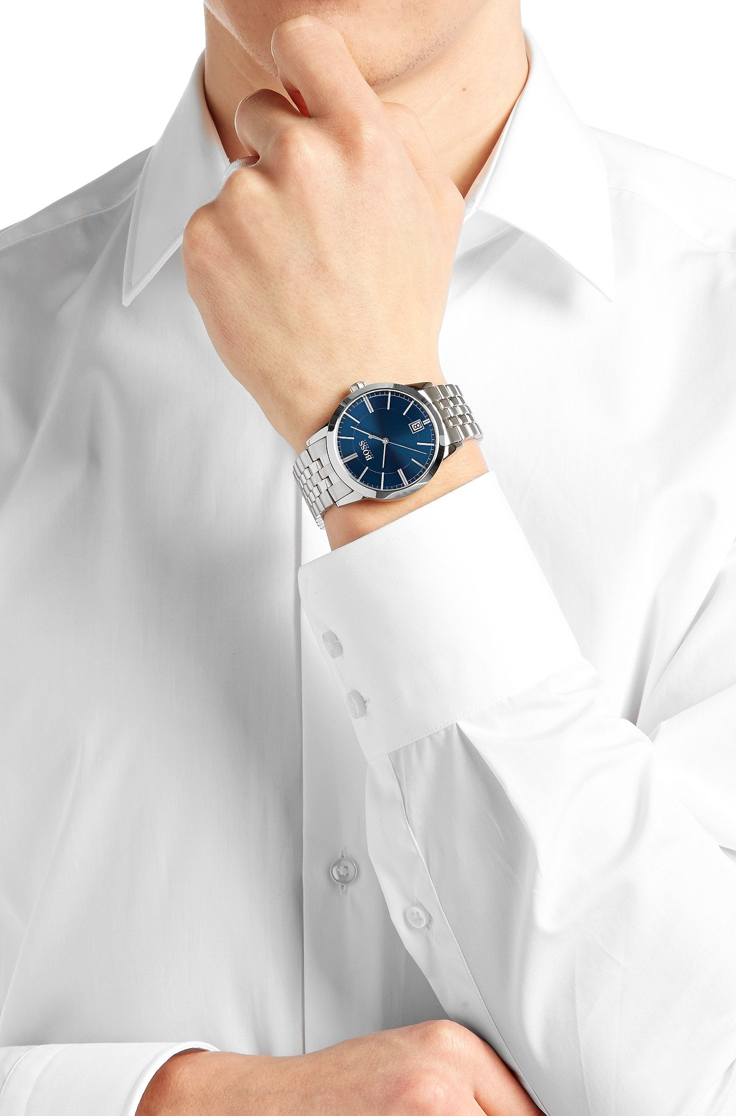 Montre-bracelet «HBSUCES» avec mouvement à quartz et bracelet en acier inox