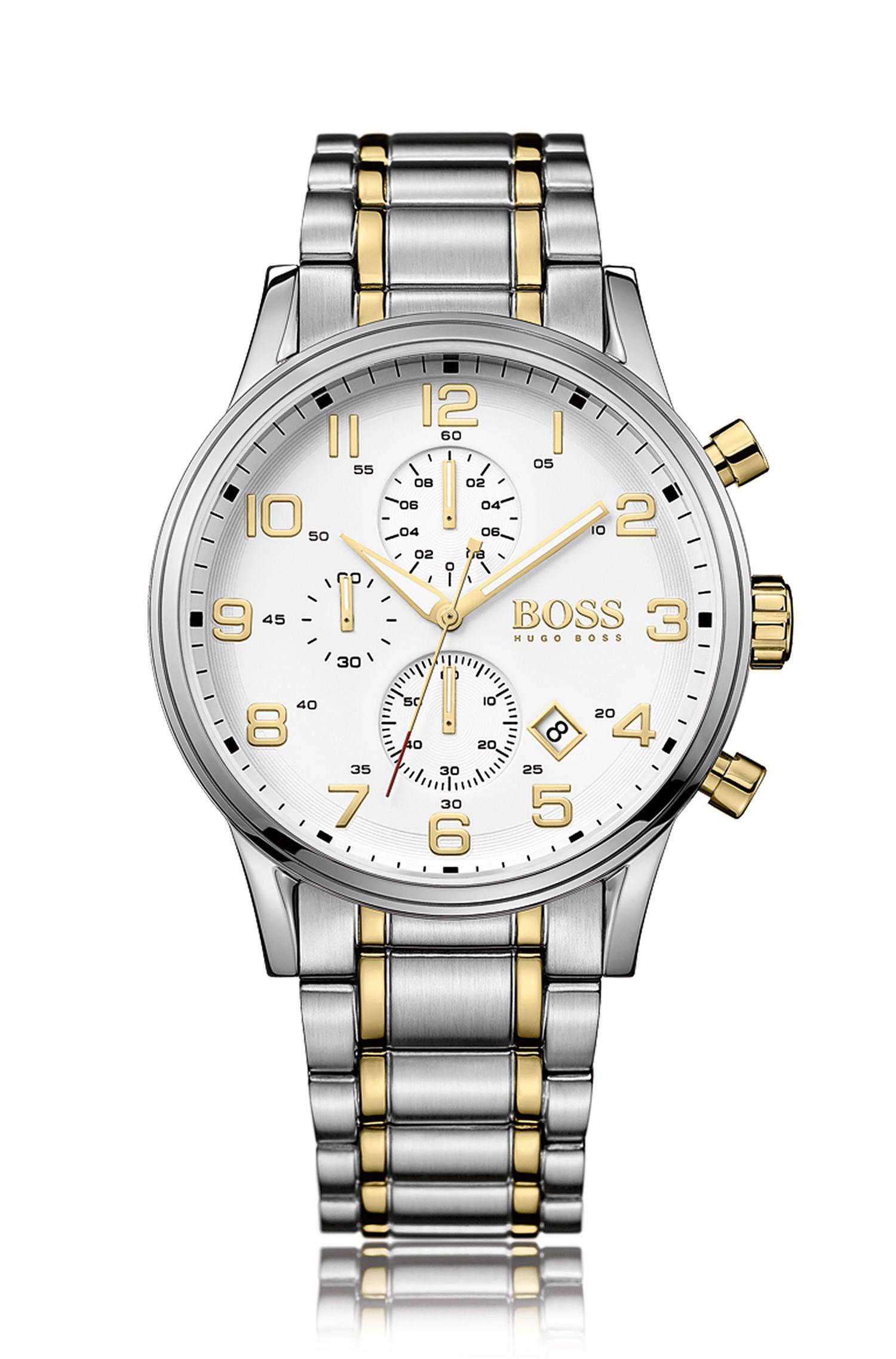 Montre chronographe en acier inoxydable partiellement doré avec mouvement à quartz: «HB7020»