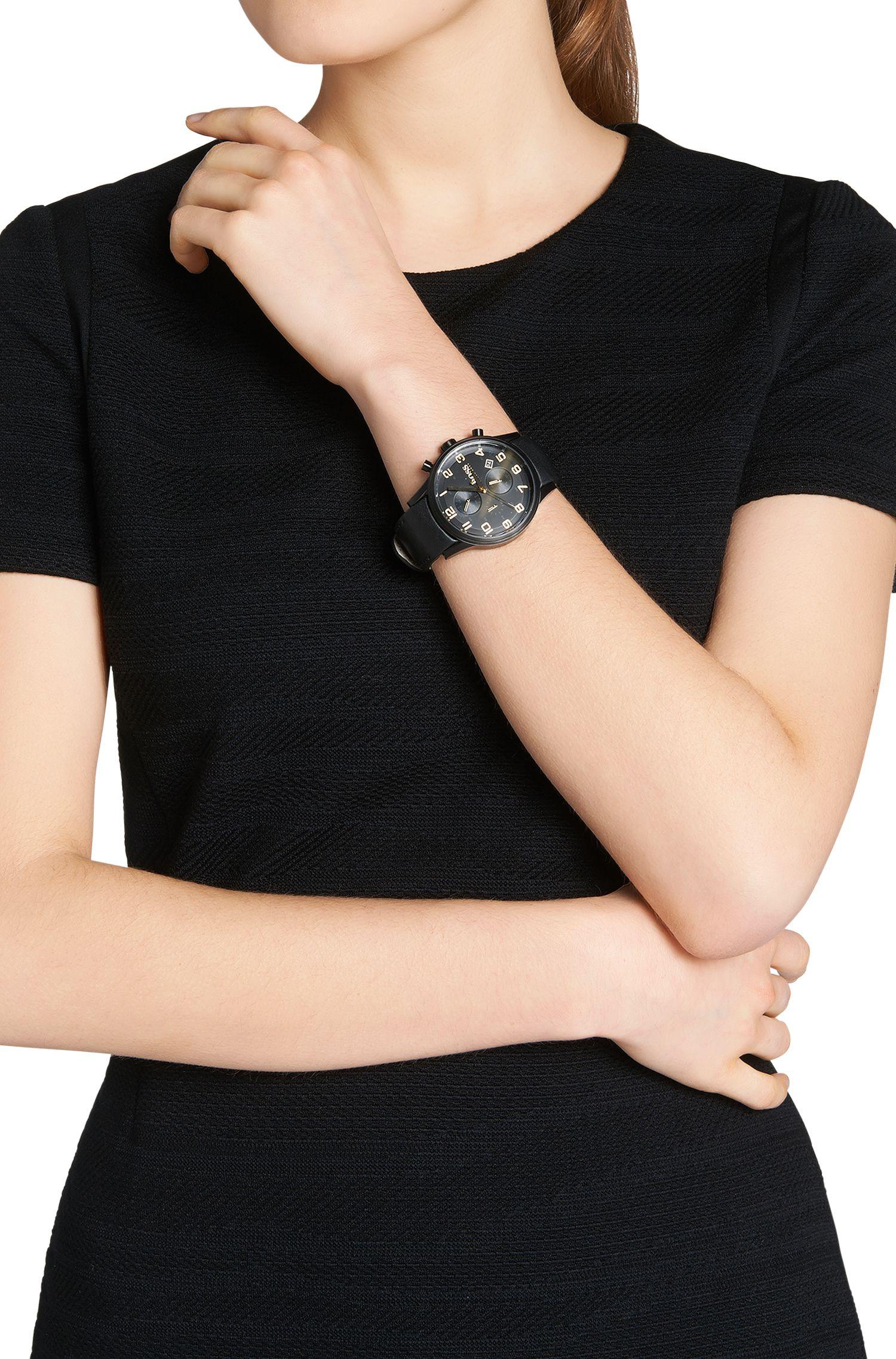 Chronographe de style aviateur avec bracelet en cuir: «HB7020»