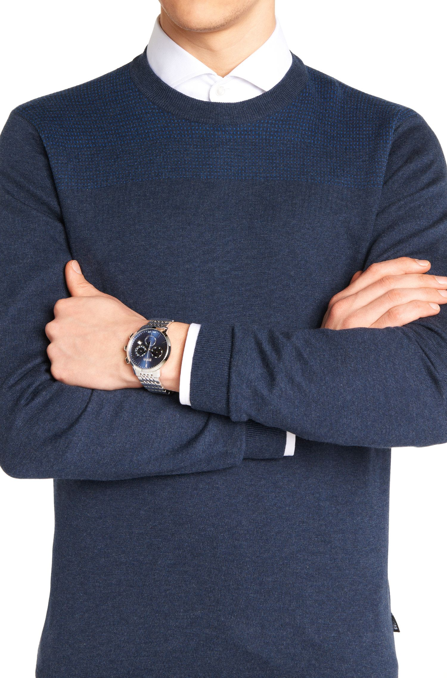 Chronograph aus Edelstahl mit Gliederarmband: 'Signature Timepiece'