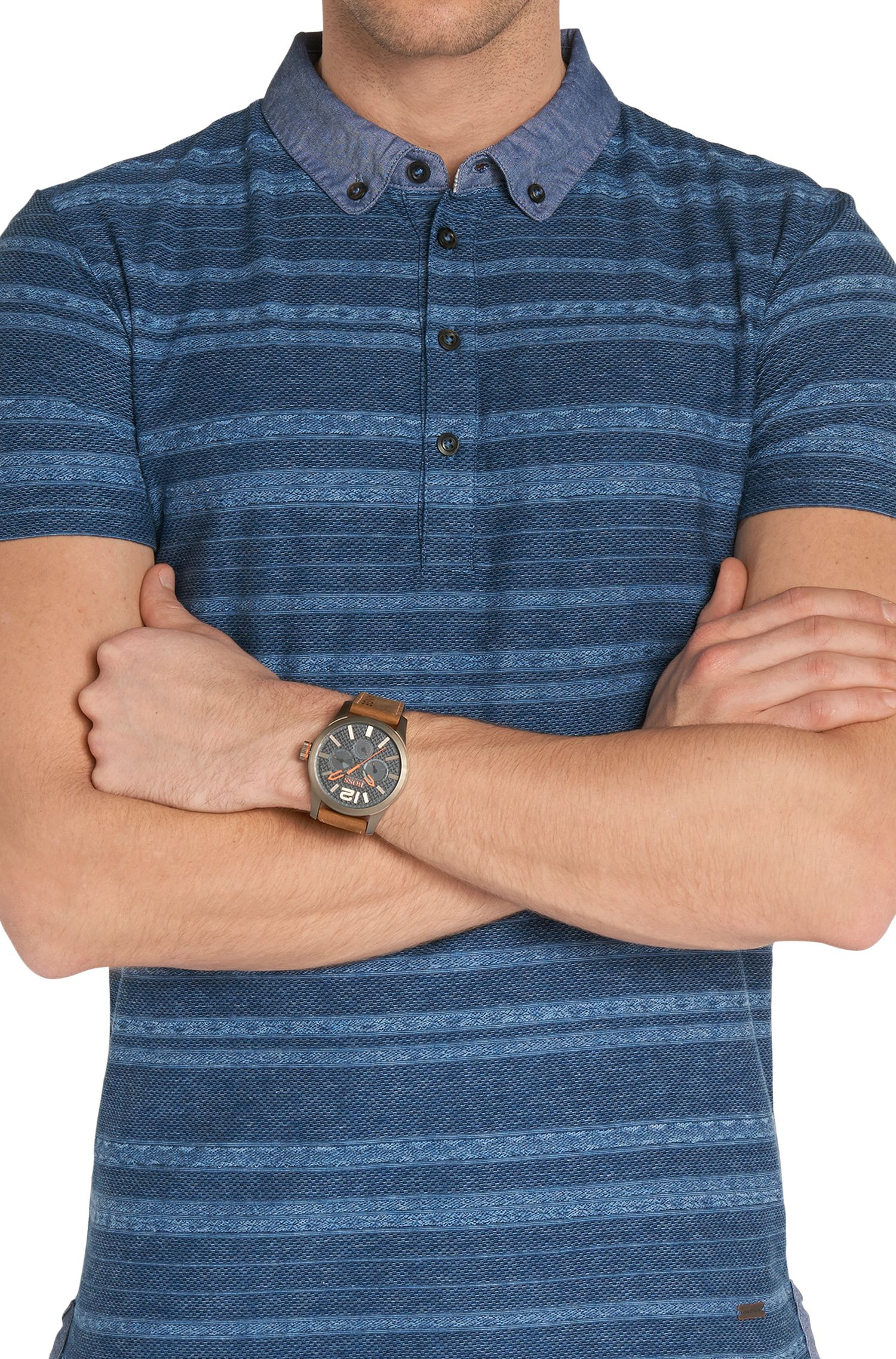 Multi-eye-horloge met leren polsband: 'HO7020'