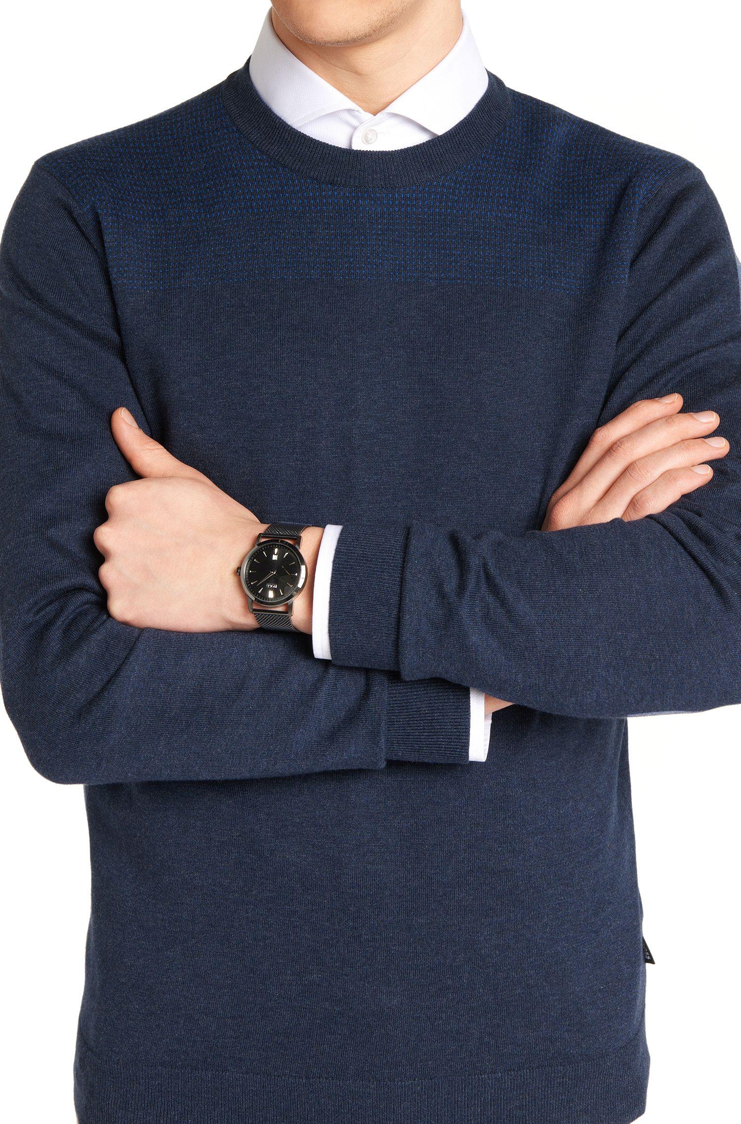 Zwei-Zeiger-Uhr aus geschwärztem Edelstahl mit Milanaise-Armband: 'HB1401'