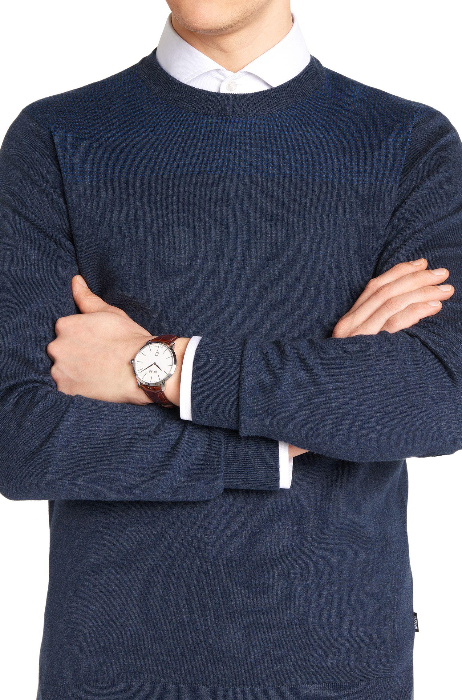 Armbanduhr aus Edelstahl mit Lederarmband: 'Signature Timepiece'