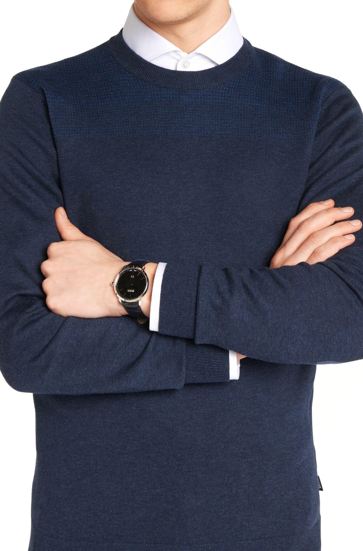 Runde Armbanduhr aus Edelstahl: 'Signature Timepiece'