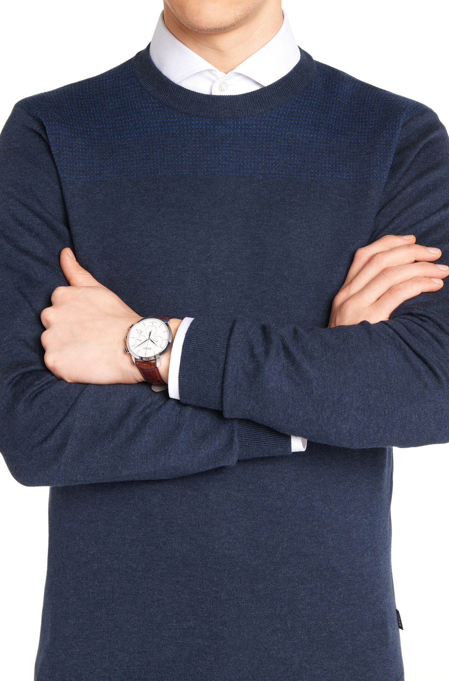 Chronographe avec boîtier en acier inoxydable et bracelet en cuir imprimé: «Signature Timepiece»