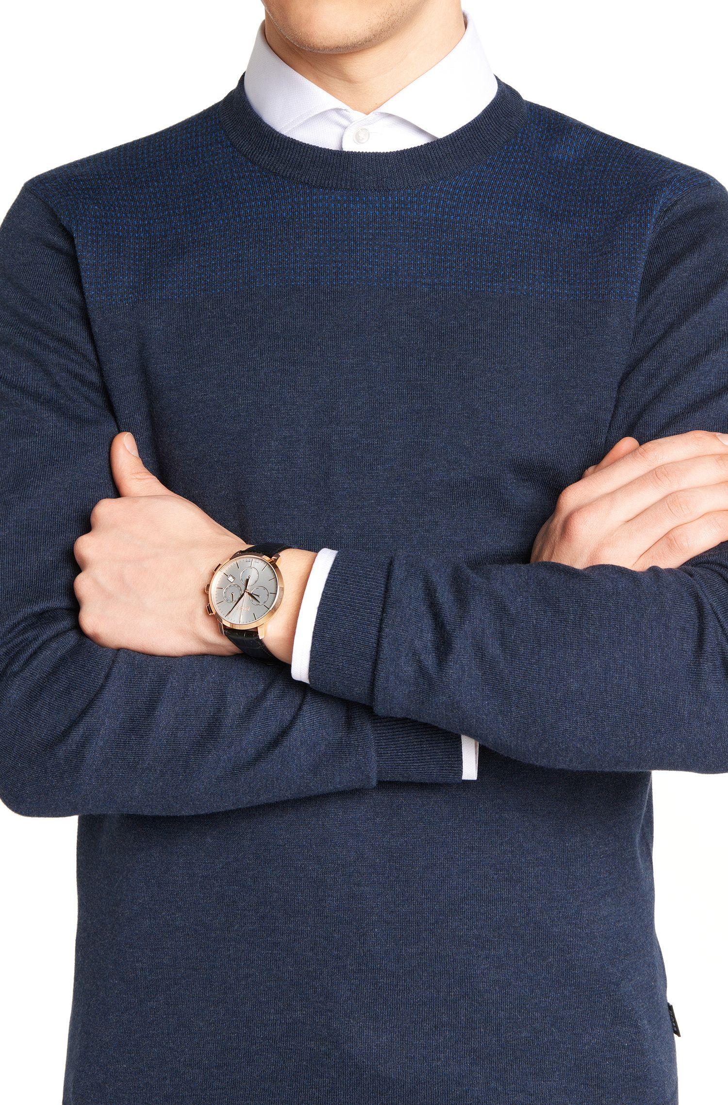 Chronographe avec boîtier en acier inoxydable et bracelet en cuir imprimé: «Signature Timepiece »