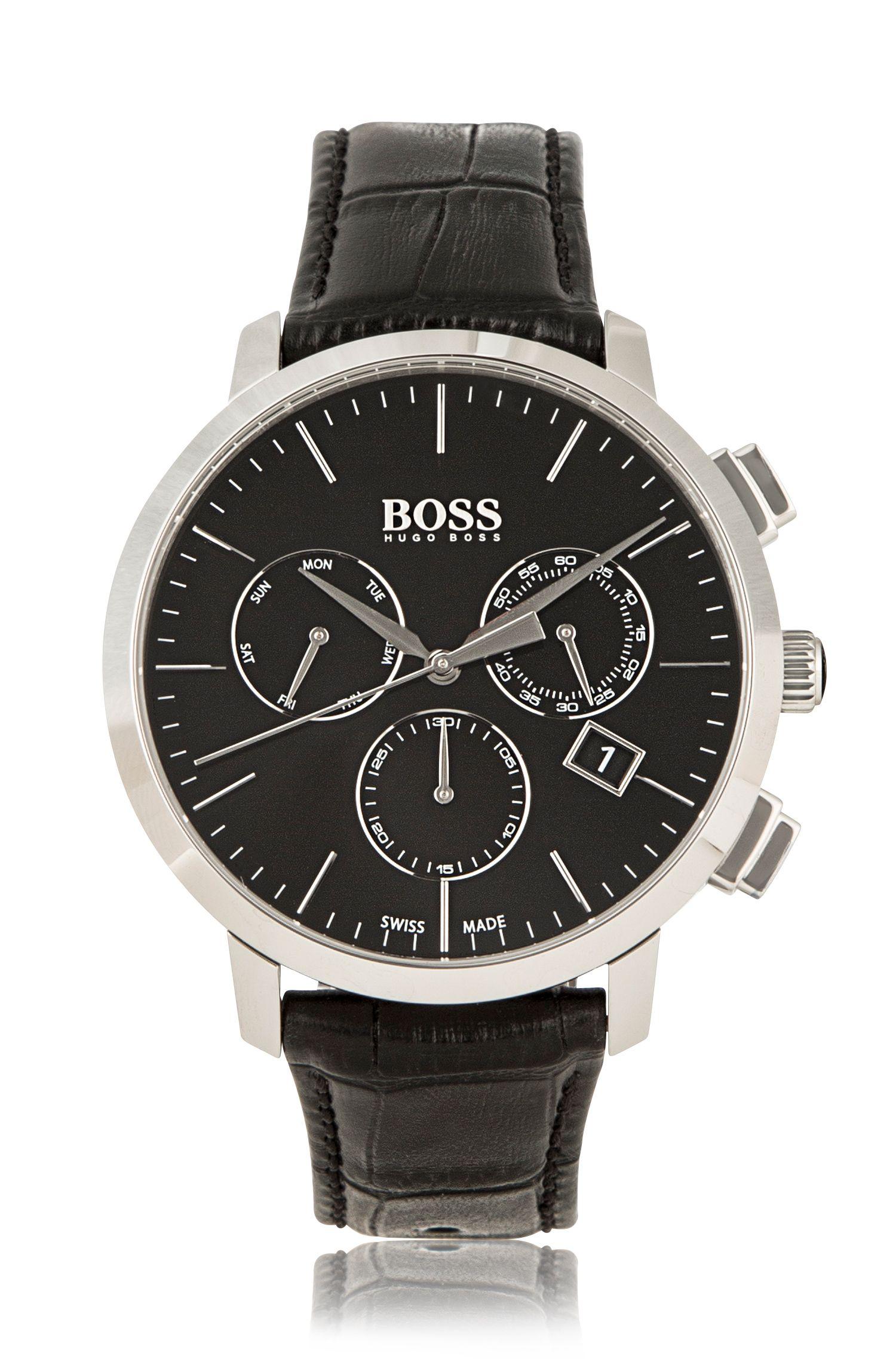 Montre chronographe en acier inoxydable avec mouvement à quartz: «Signature Timepiece»