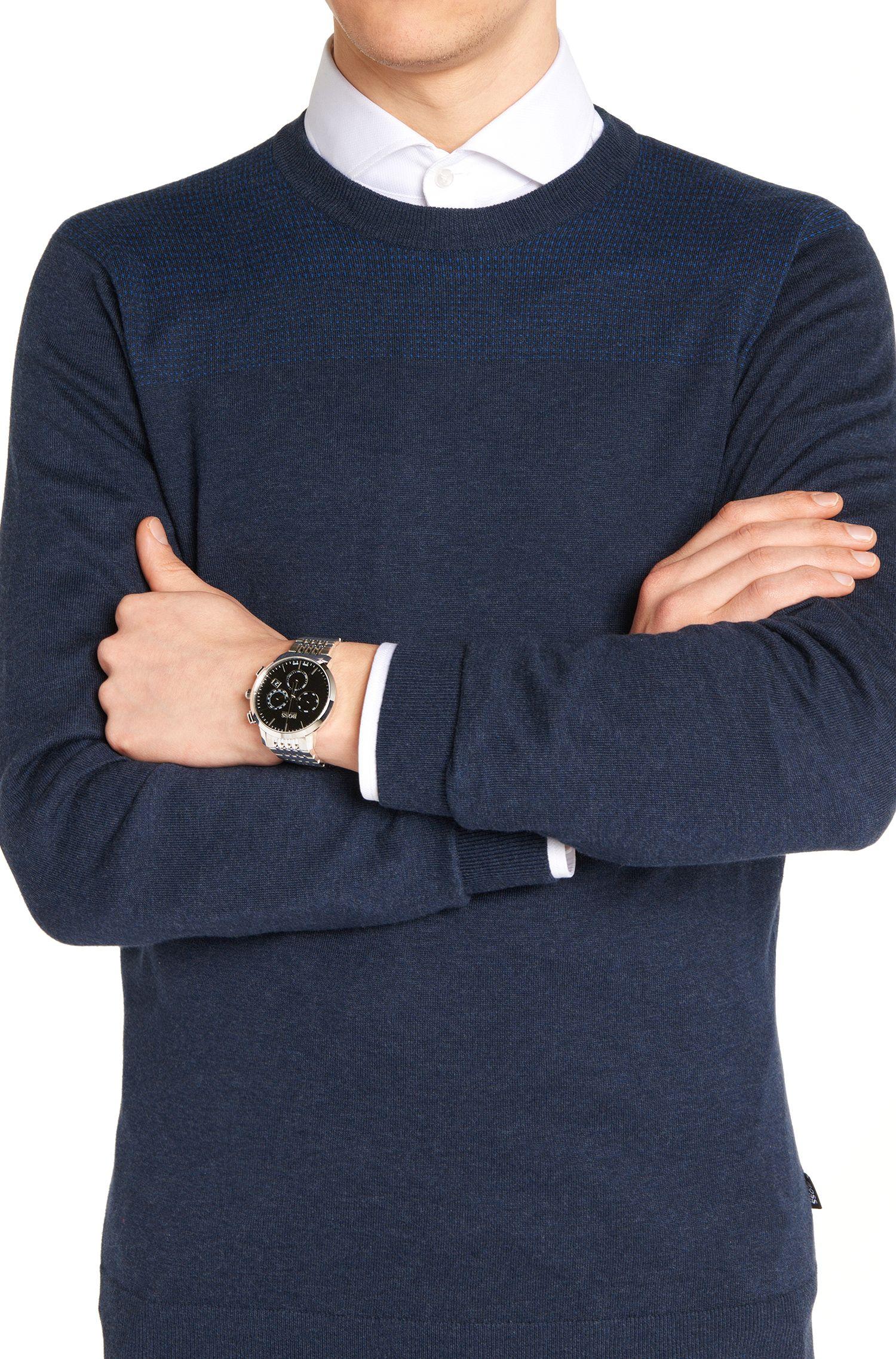 Chronographe en acier inoxydable avec bracelet à maillons: «Signature Timepiece »