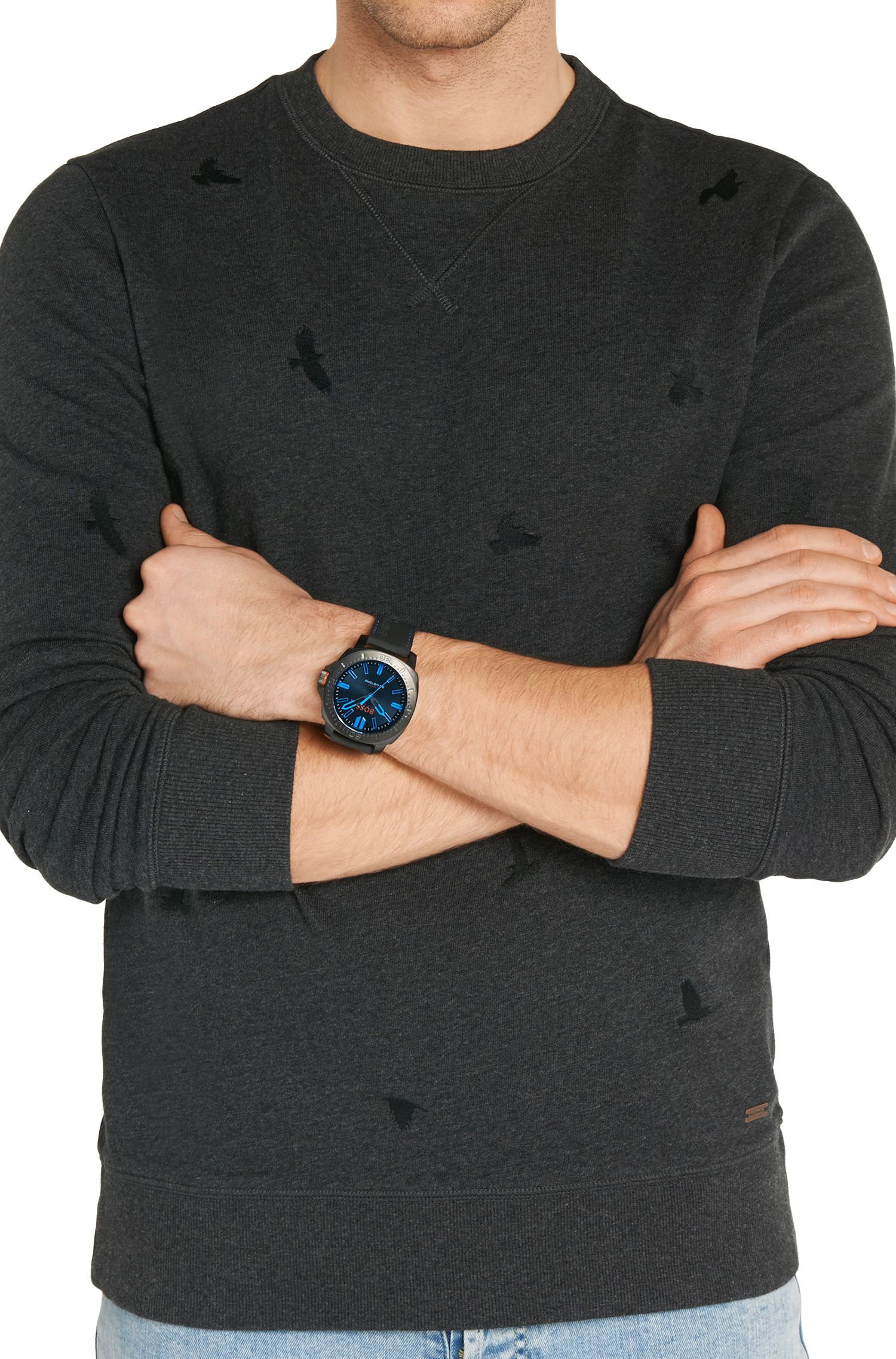 Armbanduhr mit geschwärztem Edelstahlgehäuse: 'HOSAOPO'