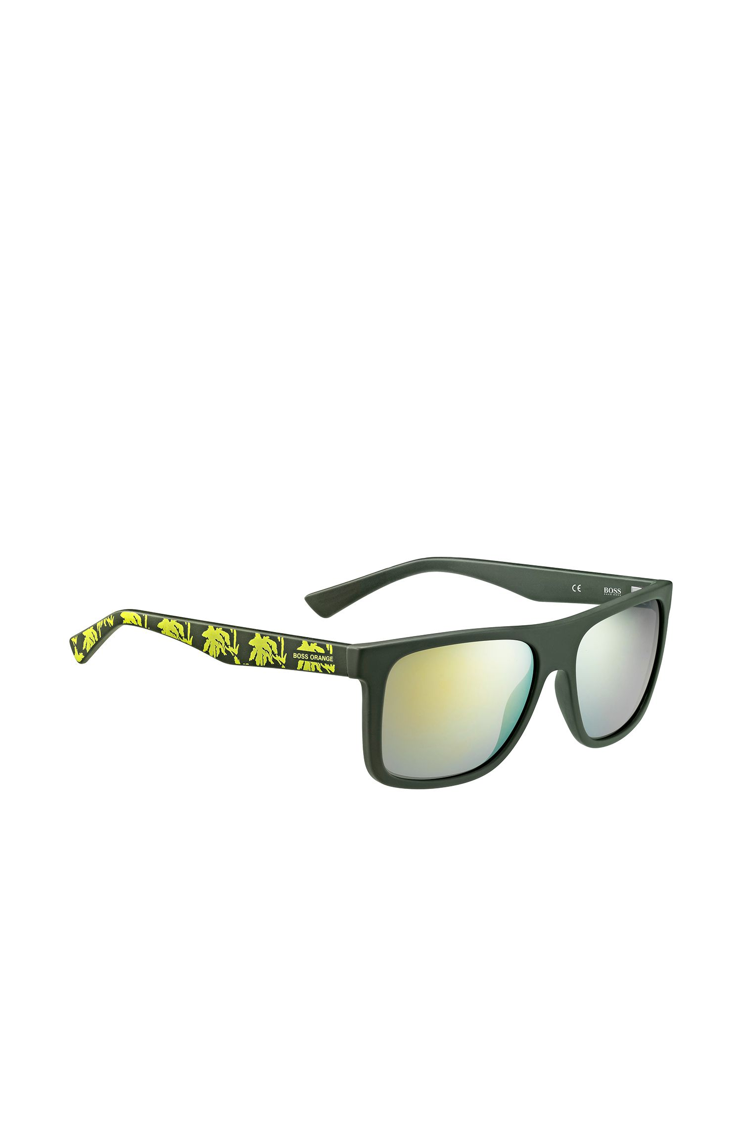 Green sunglasses with patterned temples: 'BO 0235/S'